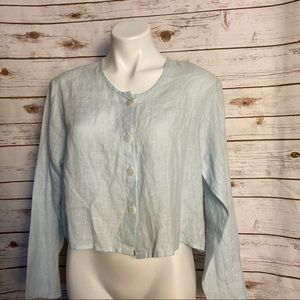 Flax light blue linen shirt, small